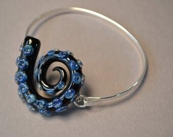 Octopus Tentacle Cuff Bracelet on Silver