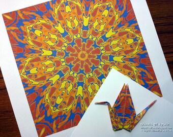 DIY Origami Paper, Digital  Art Download, Print Your Own Art, Digital Quilt Square, Printable Mandala, Printable Wall Art Digital Wall Decor