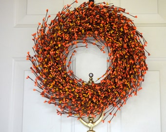 Orange Mix Berry Wreath for Fall -  Fall Grapevine wreath  -  Fall Orange Yellow door decor - Thanksgiving door decor
