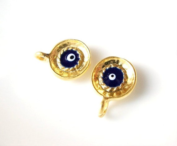 5 pcs - Matte Gold Plated Dark Blue Circle Enameled Eye charm-15x10mm (015-034GP)