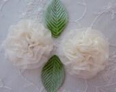 2.5 inch Organza Fabric Rose Flower Applique Hand Dyed Vintage Cream w Green Velvet Leaf Bridal Christening Couture Hat