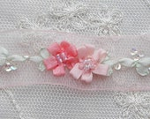 Hand Embroidered PEACH LT CORAL Organza Sequin Bead Flower Ribbon Trim Antique Vintage Baby Doll Christening Gown