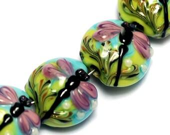 Seven Purple Dragonfly Lentil Beads 10504402 - Handmade Lampwork Glass Bead Set
