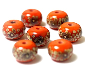 Handmade Glass Lampwork Bead Set - Seven Coral w/Beige Rondelle Beads 11102701