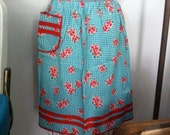 Aqua Checkered Apron with Red Pink Floral and Ric Rac Trim Back Thennish Vintage Turquoise Check it Out
