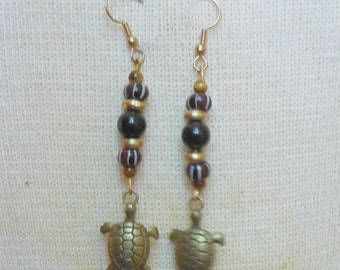 Antique Bronze Turtle Onyx Tiger Eye Gold Dangle Earrings Gemstone Beads Semi Precious Stones Hippie Boho OlyTeam