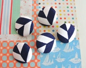 Handmade Modern Navy Blue White Geometric Stripes Fabric Covered Buttons, Navy Blue White Geometric Fridge Magnets, CHOOSE SIZE 5's