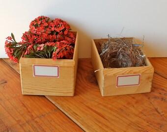 PAIR European Vintage Wood Storage Bin Boxes with Dennison Labels