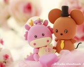 Dragon and cute Mouse wedding cake topper---k773