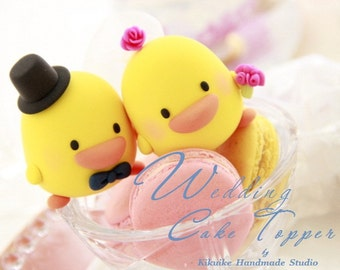 ducks Wedding Cake Topper -Handmade love ducks cake topper---k761