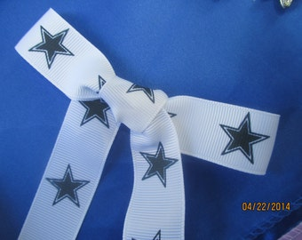 "Navy Stars  Ribbon Grosgrain 7/8"" Wide   Nice Ribbon  1 Yard Long."