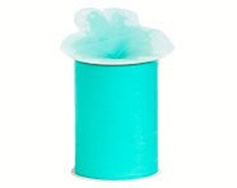 "6 inch x 100 yds  ""Import"" Nylon Tulle Roll - AQUA-Fall Special only 5.99 roll"