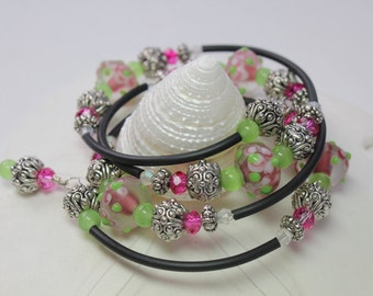 Fuchsia and Lime Green Memory Wire Bangle