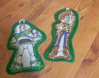 Set of 3 Christmas Ornaments Made With Upcycled Toy Story Fabric (not a licensed product)