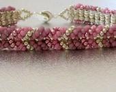 beadwork friendship bracelet pink bead jewelry seed bead beaded bracelet