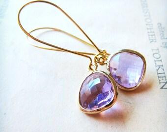 Pale amethyst Earrings in a brushed gold bezel, pear jewel earrings, bridal jewelry, wedding earrings, light purple earrings
