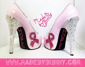 Pink Breast Cancer Awareness Heels with Glitter and Crystal Rhinestones