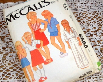 Vintage McCall's Pattern 6665, Size 7, Children, Girls T-Shirt, Top, Skirt, Shorts, Pants, Nautical, Carefree  Sewing Pattern  (424-14)