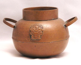 Vintage Aztec Mayan Inca 2 Handle Copper Pot Vase with God