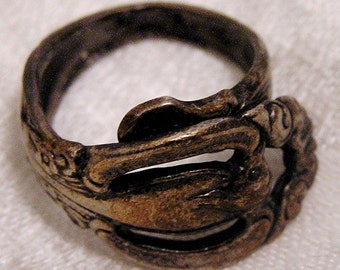 Vintage Sterling Silver Wrap Around Spoon Ring (J89)