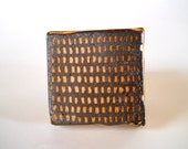 Handmade decorative tile, wood fired tile with slip pattern, small rustic  tile dark brown, white, gold