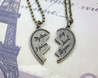 My love I give my heart to you - Heart shaped Couples Necklace (R2G2)