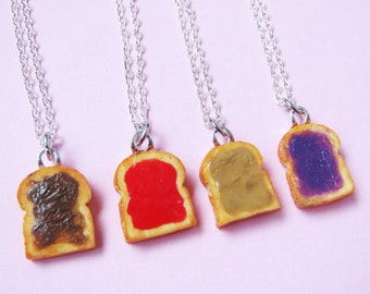 Miniature Peanut Butter and Jelly Best Friend Couples Necklaces - Set of 4 - Grape, Strawberry, Peanut Butter, Nutella