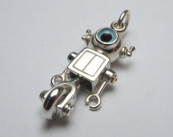 Steampunk robot necklace WHEELYBOT sterling silver