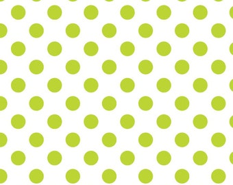 Medium Lime Dots on White from Riley Blake Fabrics  1/2 yard on sale