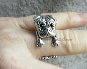 PUG sterling silver dog ring, sweet, dog Ring Women's,adjustable , dogs, Ring Jewelry, Wrap Ring Size, heavy big, gift idea