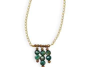 Faceted Green Fire Agate Beads and Gold Crystal Accent Beads Fancy Handmade Women's Birthday Gift Gold Curb Chain Green with Envy Necklace
