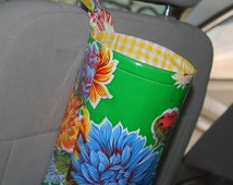 Oil Cloth Trash Tote for your car-Adjustable strap