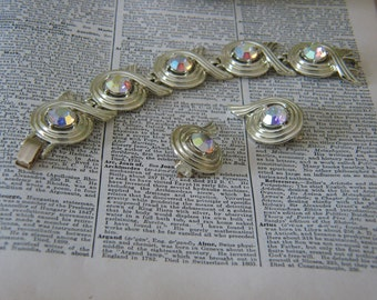 Vintage Sarah Coventry Aurora Borealis and Gold Bracelet and Clip On Earrings