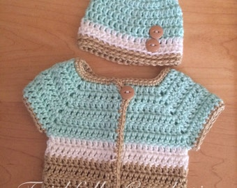 Newborn sweater.. Matching button beanie... Ready to ship