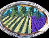 Original Folk art vineyard and lavender Painting on a ornate reclaimed round platter