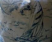 Nautical, throw, accent Pillow cover,  white w navy sailboats,18x18. Ready to Ship.