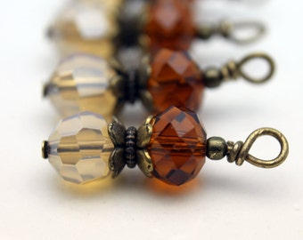 Cloudy Amber and Honey Brown Crystal Bead Dangle Charm Drop Earring Dangles