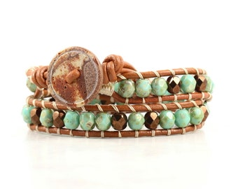 Summer Party Jewelry Brown Leather Wrap Bracelet Green Beaded Bracelet Bohemian Jewelry Caramel Mint Boho Jewelry Bronze Tan Seafoam Green