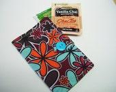 turquoise burgundy cotton tea wallet,tea wallet,cotton fabric Tea wallet,eco friendly,tea wallet,tea bag holder,tea bag caddy,travel teabag