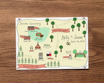 custom map design for a wedding invitation or save-the-date