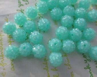 Resin Rhinestone Raspberry beads 10pcs 12mm x 10mm Oclean turquoise