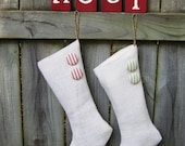 Cream Burlap Holiday Stocking with Your Choice of Button Colors