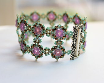Hand beaded Lace cuff style Bracelet with sterling silver clasp, done in sea foam green, lavender and gold