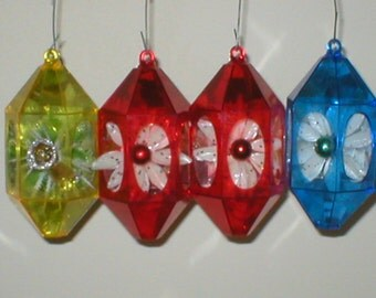 Christmas Ornaments Jewel Brite Plastic Diorama 3-D Vintage