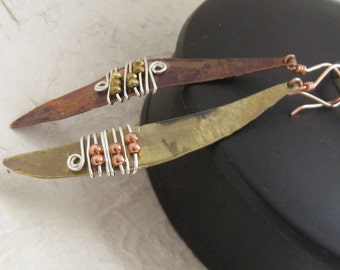 Fire Brazed Wire Wrapped Copper & Brass Earrings