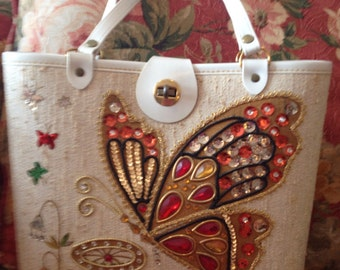 Vintage 1950s Jeweled Butterfly Purse