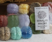 SALE Surplus Mini Brains Halloween soap - mini brain-wash soap in weird & ugly colors - set of 6