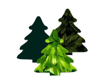 Christmas Tree Fusible Fabric Appliques Cotton Quilting Sewing Collage Die Cut