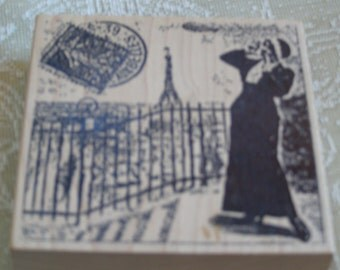 Parisian Eiffel Tower Collage wood mounted Rubber Stamp