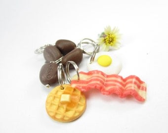 Breakfast Stitch Markers Set of 7 waffle, bacon, egg, coffee beans, food polymer clay charms, gift for knitters, knit knitting accessories
